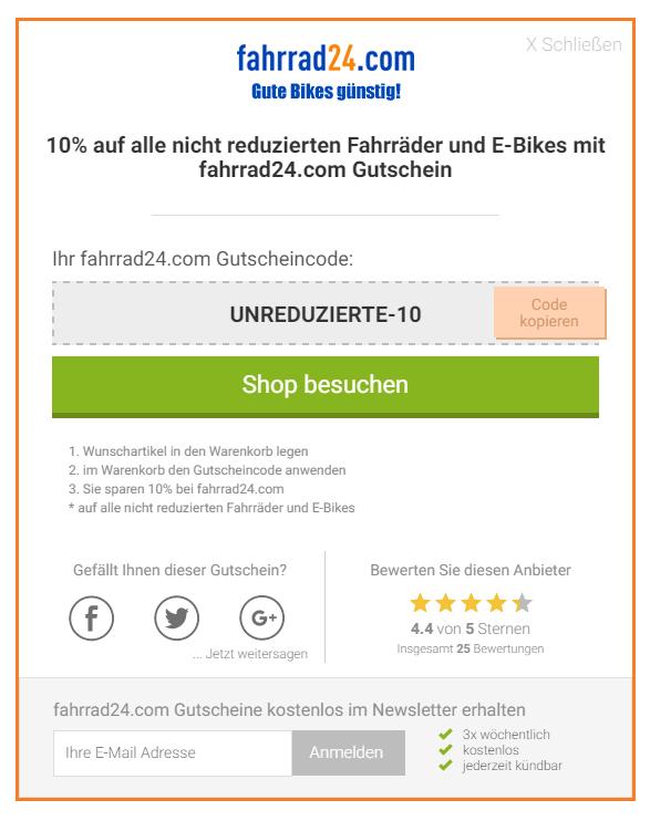 fahrrad24.com gibt jetzt 10 % auf alle Fahrräder und e-Bikes die nicht reduziert sind!