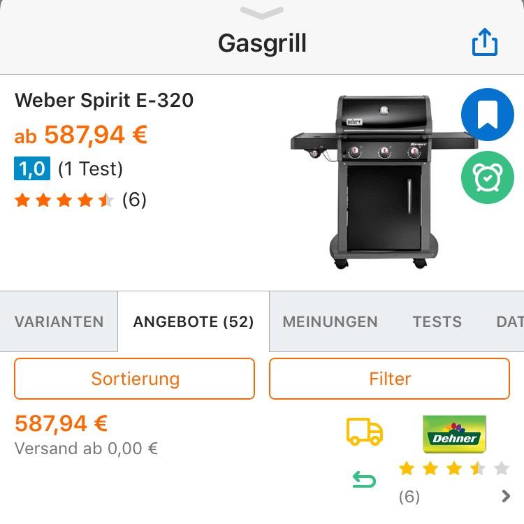 Weber Gasgrill Spirit E-320 Classic, black