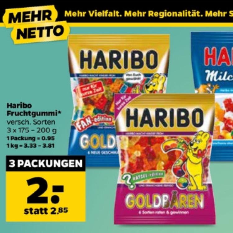 Netto Scottie - 3 Packungen Haribo für 2€, 1 Packung = 0,67€
