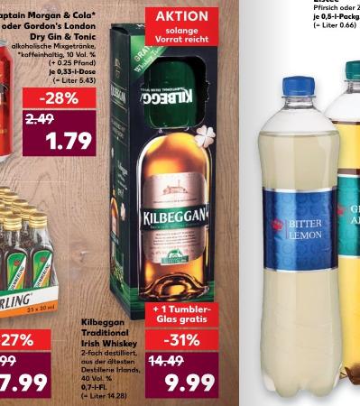 Kaufland (Wahrscheinlich regional bei Berlin/ SRB, LOS, MOL)  Kilbeggan Irish Whiskey 0,7L + Whiskyglas