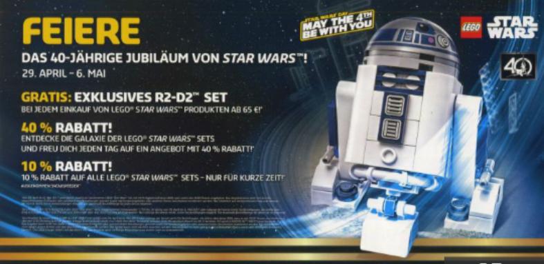[Lego-Store] Vom 29. April bis zum 6. Mai jeden Tag ein Star Wars Set um 40% Reduziert - Liste