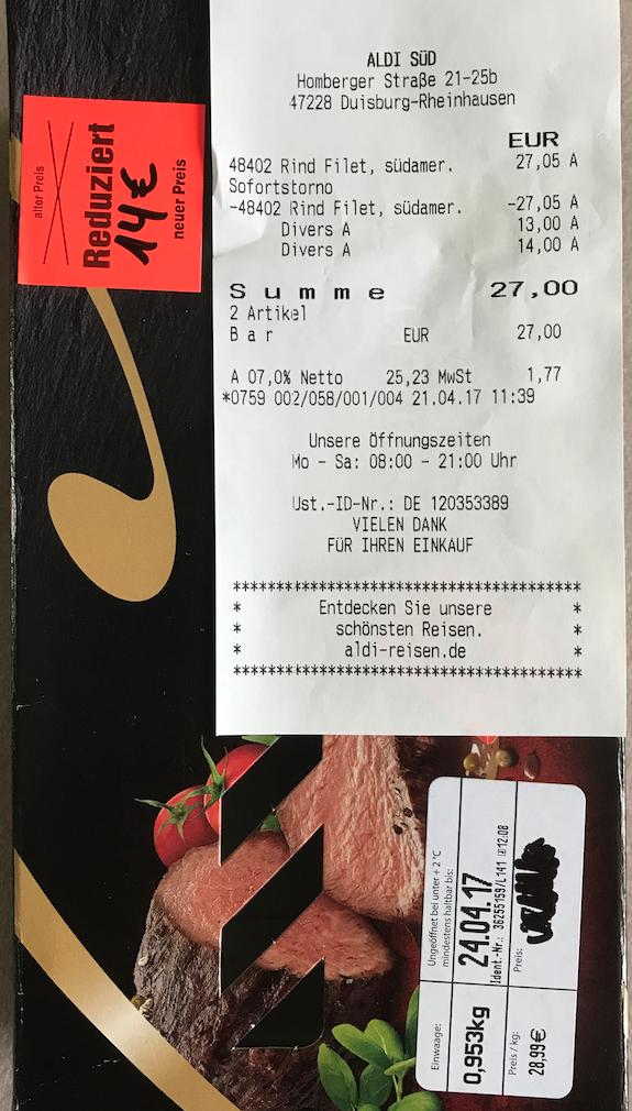 Rinderfilet aus Brasilien für 14,49 Euro / KG bei Aldi Süd in Duisburg (MHD)
