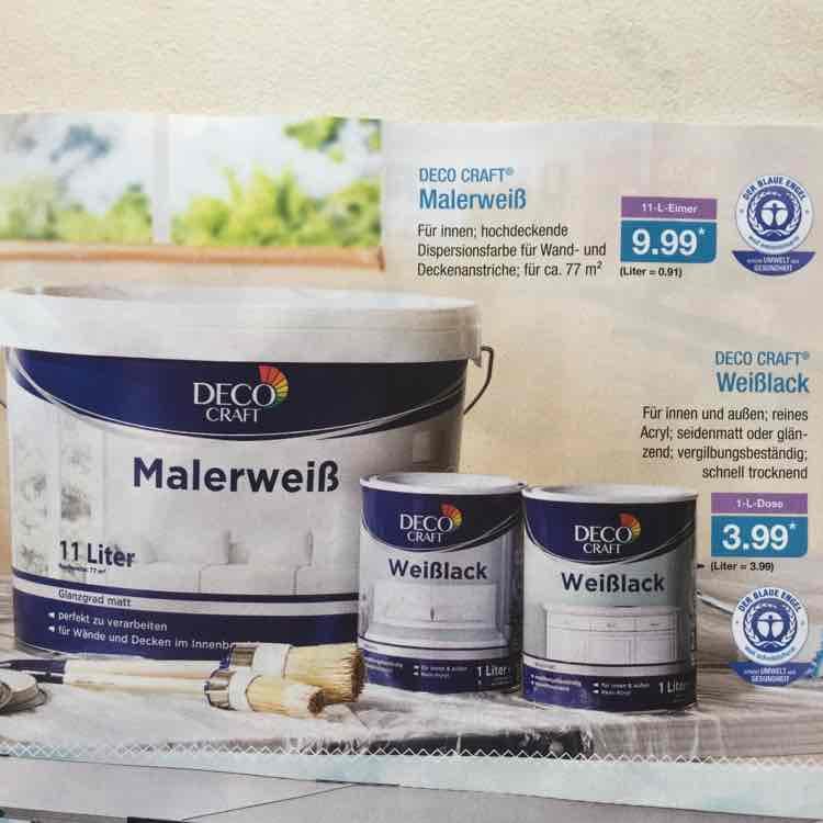 Malerweiß Innenraumfarbe 11l für 9,99 Euro bei Aldi Nord
