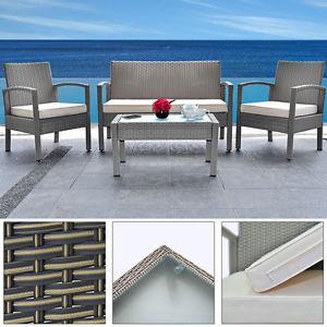 Poly Rattan Sitzgruppe Sitzgarnitur Sitzlounge Gartenlounge Gartenmöbel 3+1