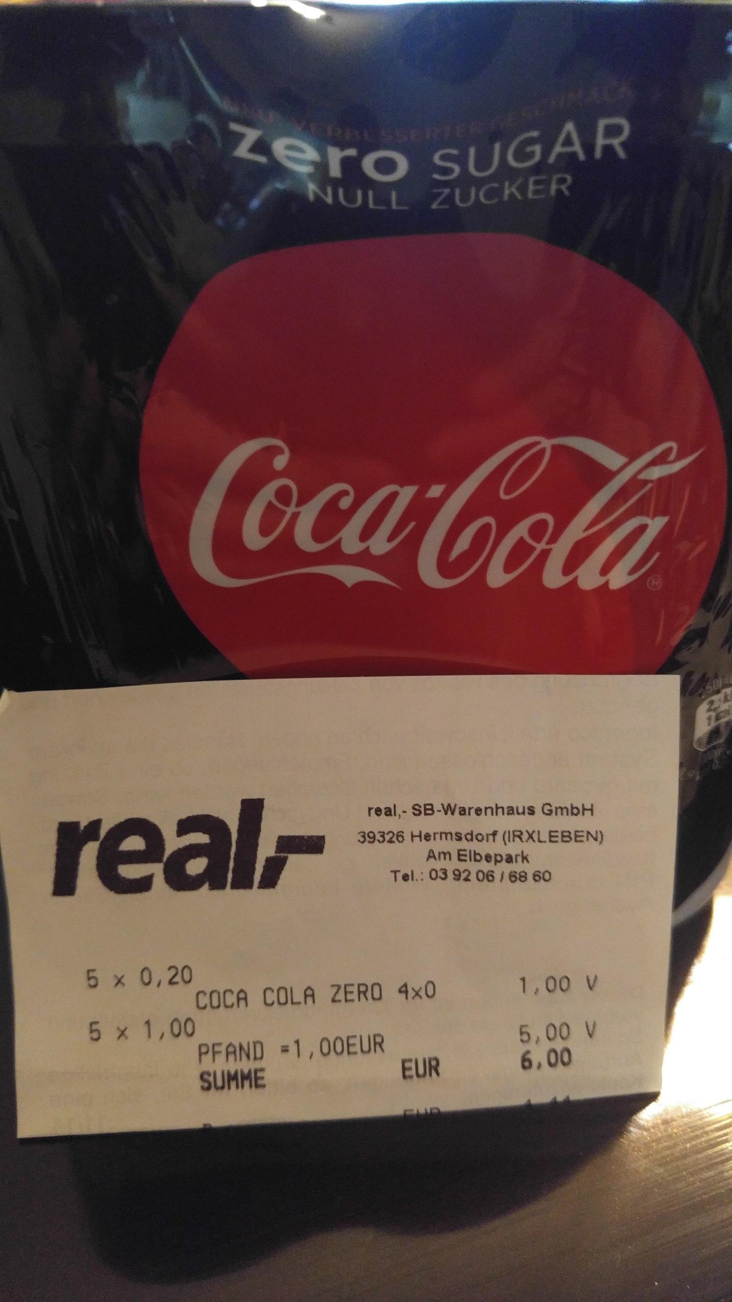 Lokal Hermsdorf (bei Magdeburg)   Real Coca Cola Coke Zero Sugar