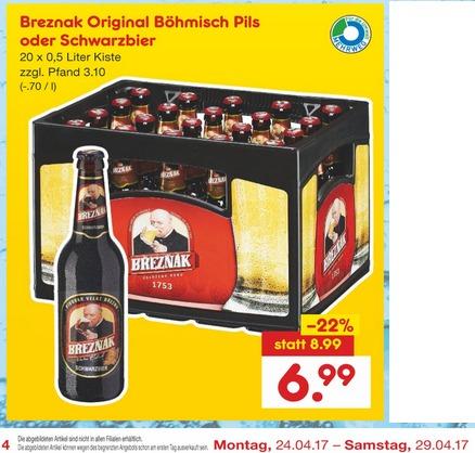 [Netto ohne Hund] Bier: Breznak Böhmisches Pils 20x0,5l für 6,99€