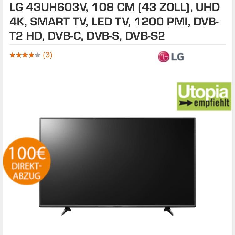 LG 43UH603V, 108 CM (43 ZOLL), UHD 4K, SMART TV, LED TV, 1200 PMI, DVB-T2 HD, DVB-C, DVB-S, DVB-S2