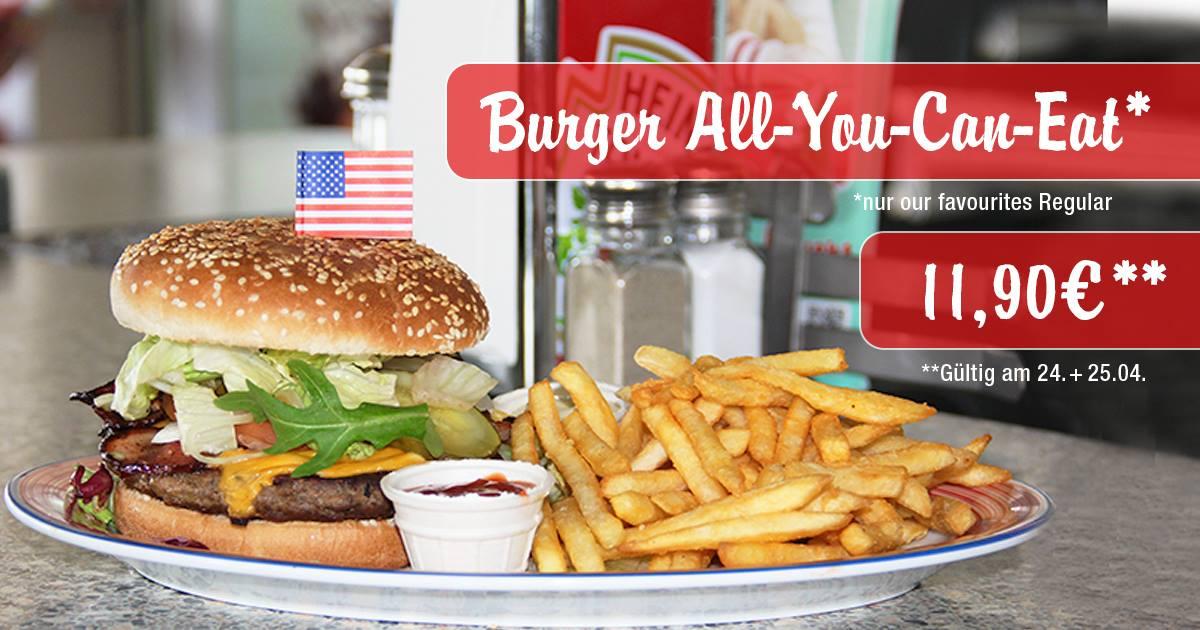Burger All You Can Eat für nur 11,90€ bei Miss Pepper American Restaurants am 24. & 25.04.2017