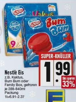 [lokal Edeka Region München / Oberbayern / Niederbayern] Nestle Eisbox für 1,99€ - zwei Boxen zum Preis von einem Preis durch Cashback von Nestle