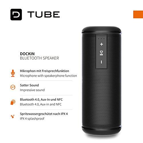 DOCKIN D Tube mobiler Outdoor Bluetooth Lautsprecher mit Wasserschutz