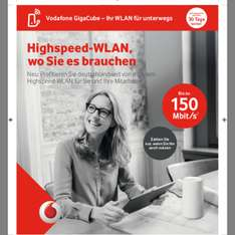 Vodafone GigaCube Wlan für unterwegs 50GB LTE für 34,90€/Monat oder in Kombi für 24,90€/Monat ab 27.04.17
