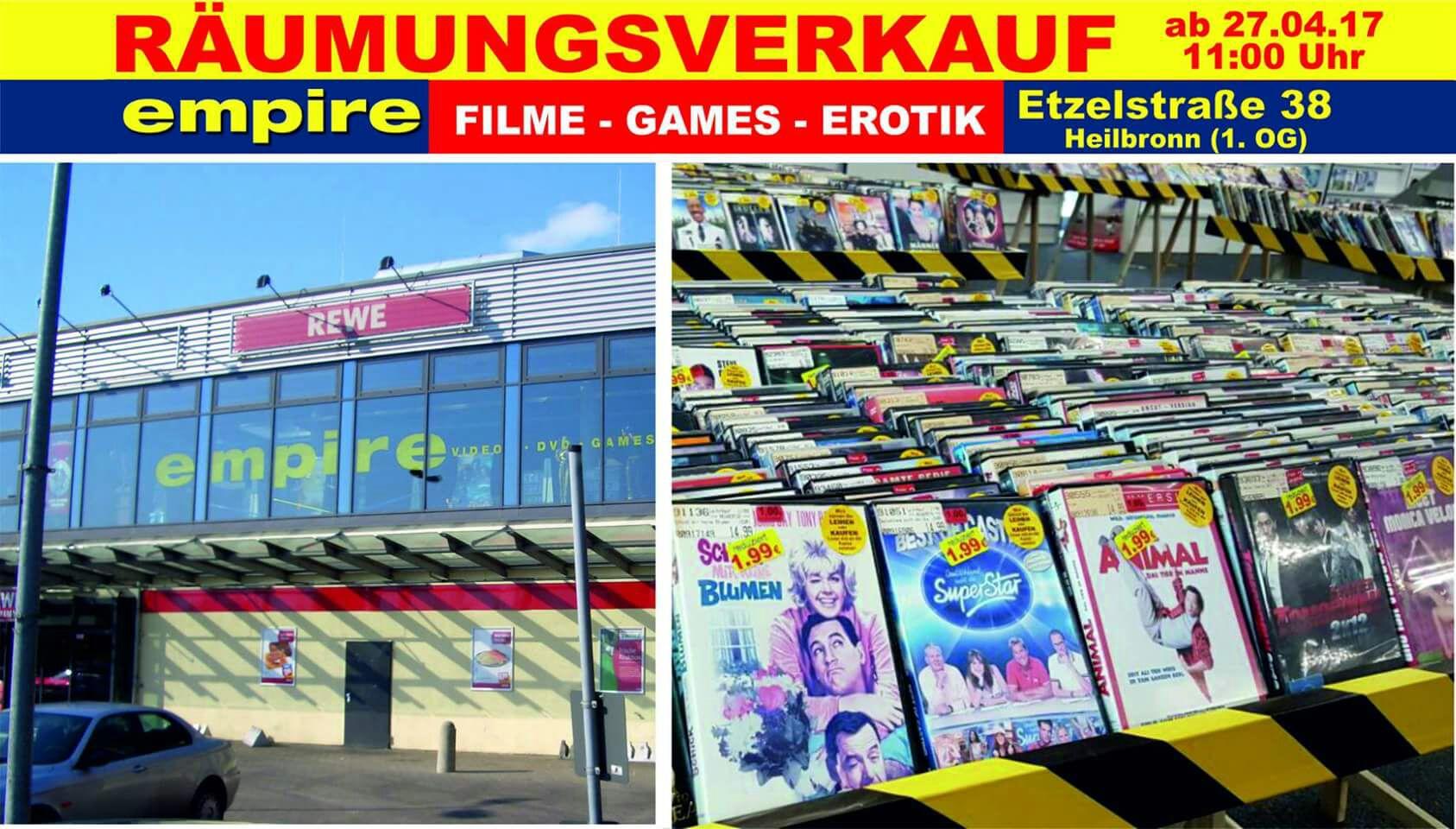 Videothek Empire [Heilbronn] Räumungsverkauf DVD/BR/Games