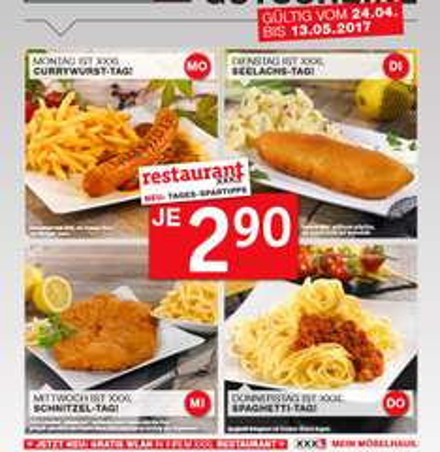 Tagesessen bei XXXL Restaurant für 2,90€ gültig von 24.04. bis 13.05.2017