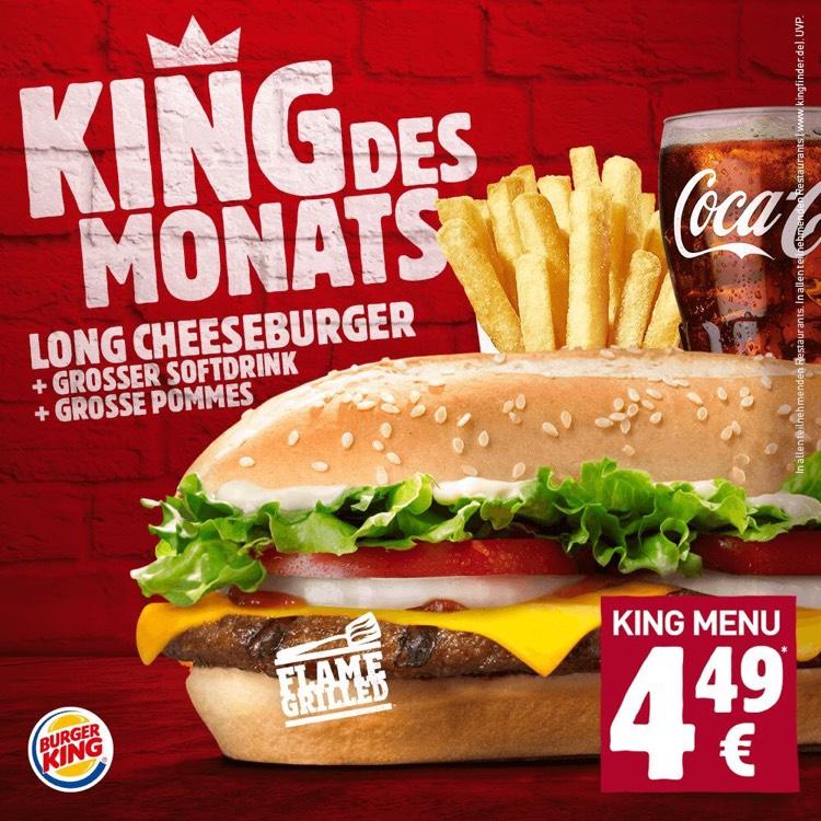 Burger King Long Cheeseburger mit großem Getränk und großer Pommes