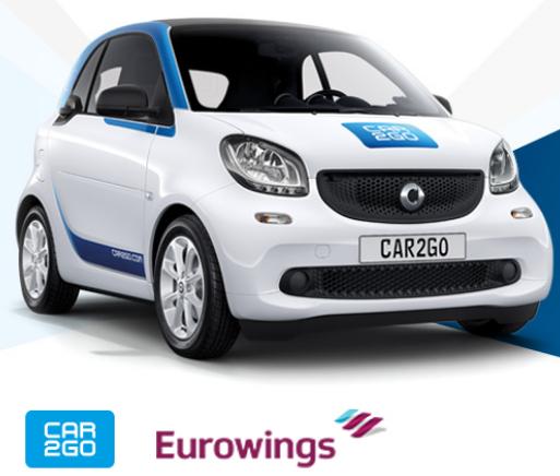 Car2Go Kostenlose Anmeldung + 5€ StartGuthaben für Eurowings Kunden