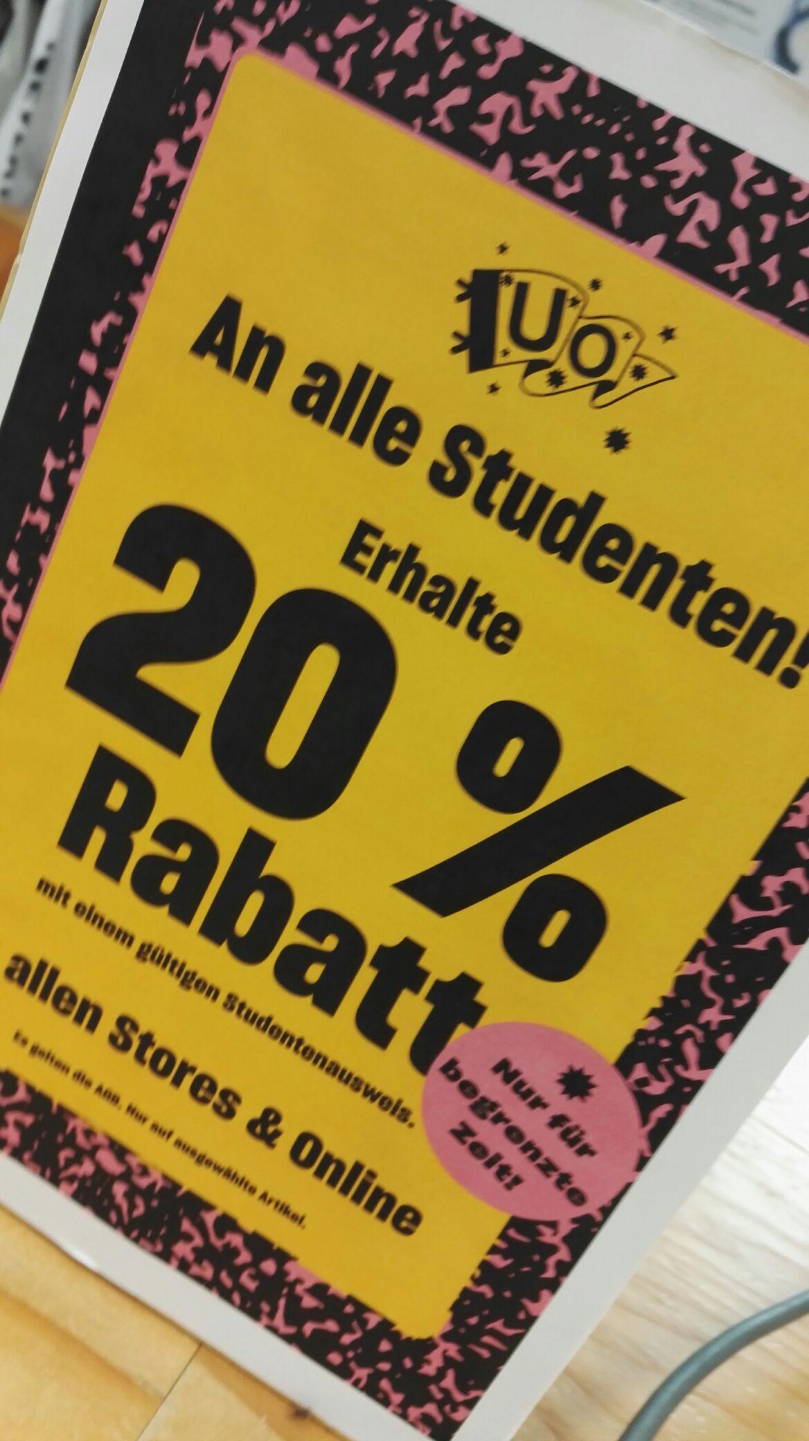 Für Studenten: 20% auf alles bei Urban Outfitters (on-/offline)