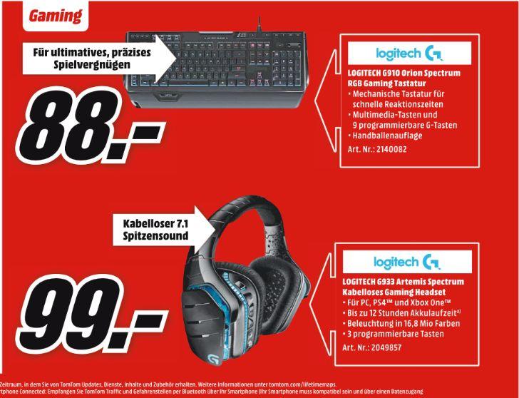 [Mediamarkt] Logitech G933 Artemis Spectrum Kabelloses 7.1 Gaming Headset für 99,-€******* Logitech G910 Orion Spectrum RGB Mechanical Gaming Keyboard für 88,-€**Angebote Online**