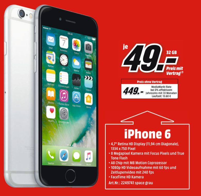 [Mediamarkt] Apple iPhone 6 32GB grau für 449,-€**Angebot Online**