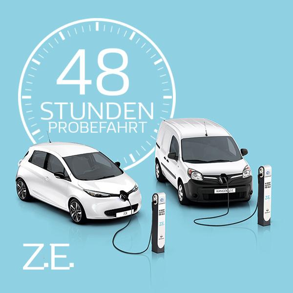 Elektroauto Renault ZOE oder Kangoo Z.E. 48 Stunden lang kostenlos Probe fahren