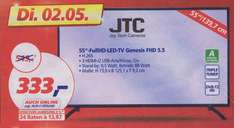 JTC Full HD LED TV 139,7cm (55 Zoll), Genesis 5.5 FHD, Triple Tuner (REAL Tagesdeal am 2.05) 333€