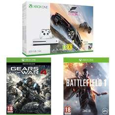 Xbox One S 500GB + Forza Horizon 3 + Battlefield 1 + Gears of War 4 oder Xbox One S 500 Go + Forza Horizon 3 + The Elder Scrolls V : Skyrim + Mass Effect : Andromeda für je 275,79€ (Amazon.fr)