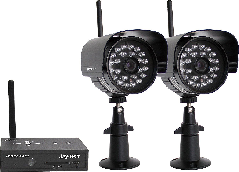 [Amazon oder Real] Jaytech D808S2 Überwachungskamera Set schwarz (Drahtloser Mini-DVR, 2x IP65 Funk-Außenkameras) / 33% unter Idealo