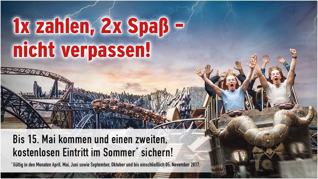 Phantasialand 1x zahlen 2x Spaß Aktion verlängert bis 15.05.