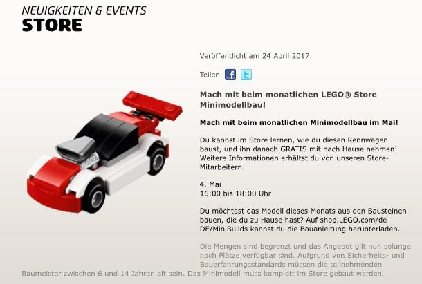 LEGO - gratis für Kinder: Kostenloser Monatlicher Minimodellbau am 04.05.2017 (Rennwagen)