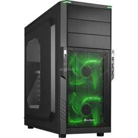 """ZackZack Angebot: Sharkoon Midi-Tower ATX """"T3-W green"""" (Window-Kit, schwarz/grün)"""