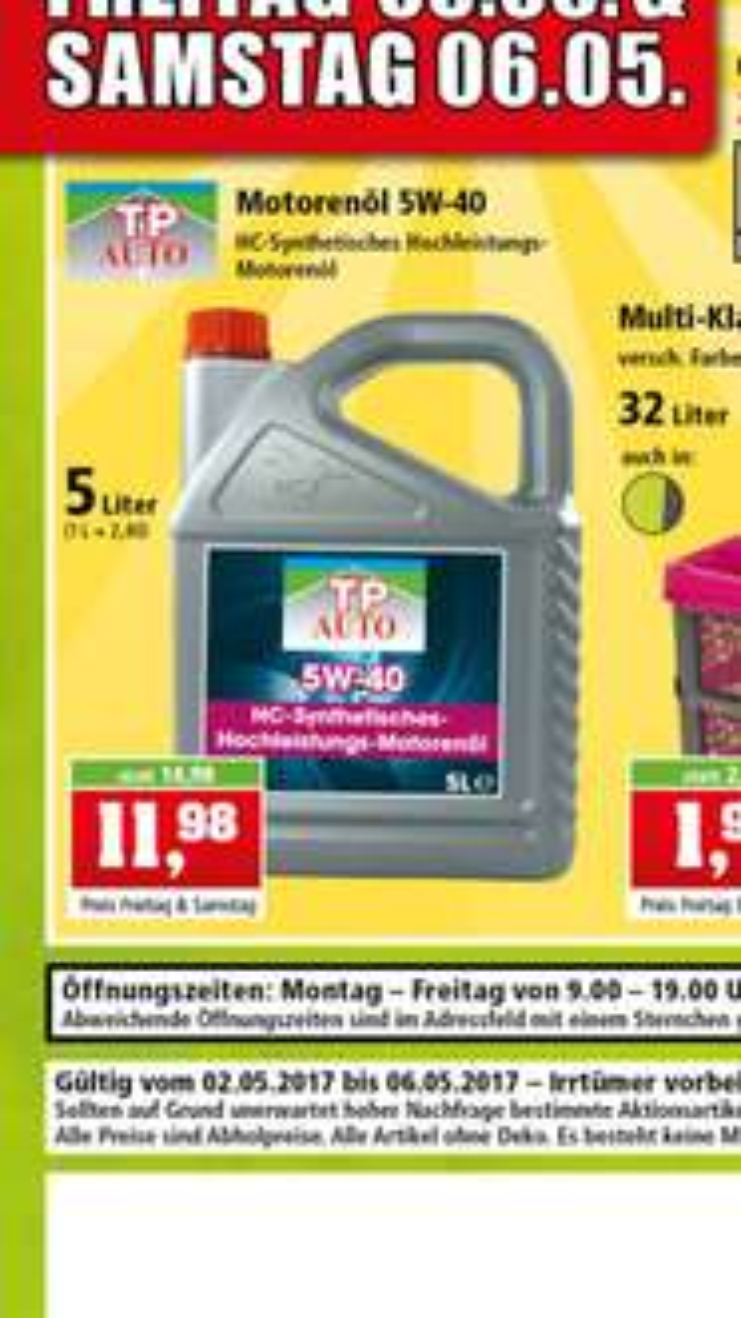 TP 5W40 Motorenöl 5 Liter 11.98€