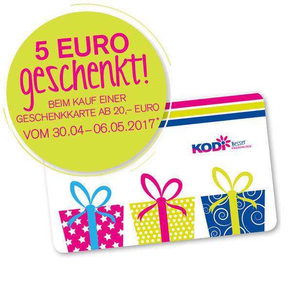 Bei Kauf einer 20€ Geschenkkarte eine 5€ Karte zusätzlich erhalten bei Kodi.de
