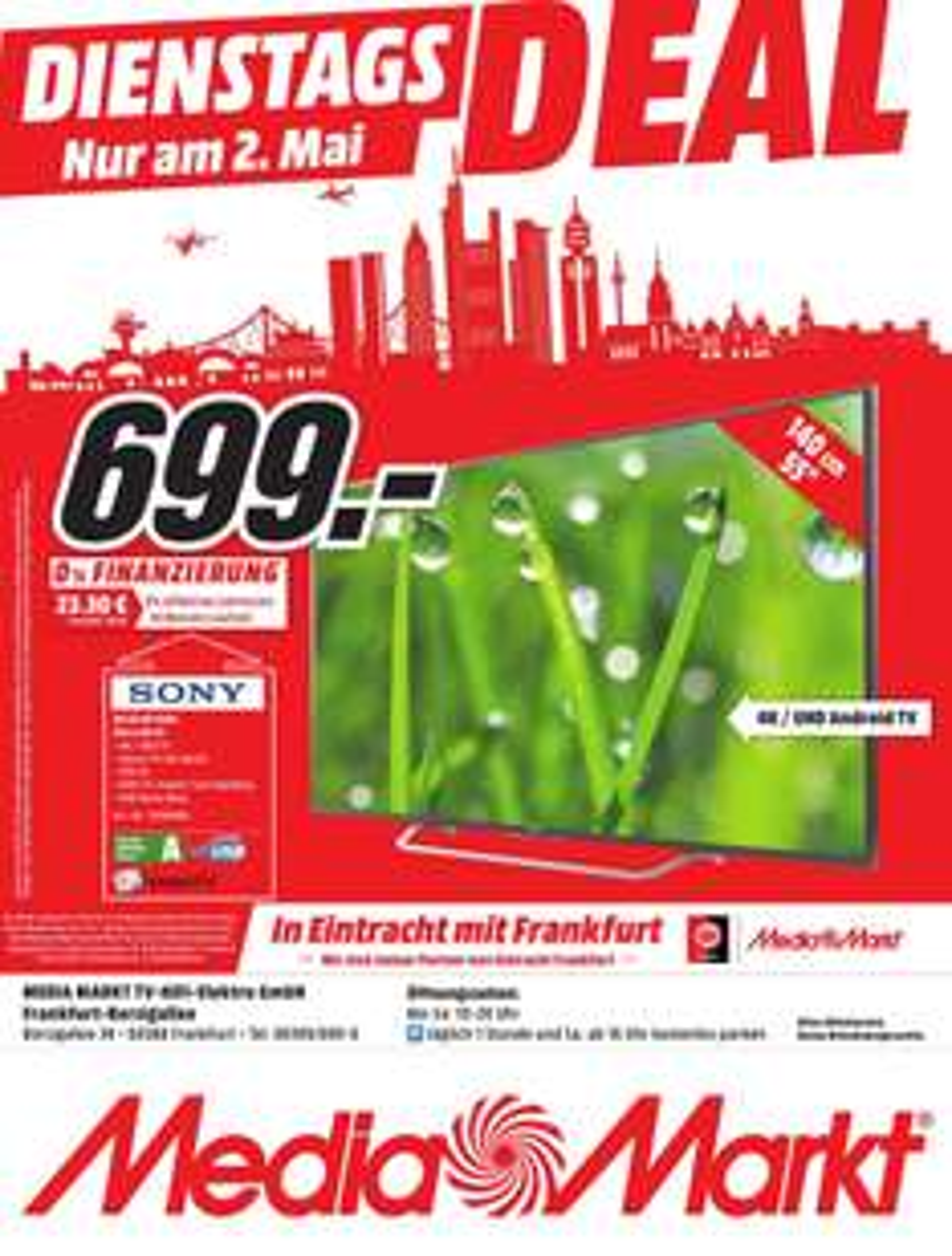 Angebot für 'Sony KD55XD7005' im Media Markt Borsigallee Frankfurt