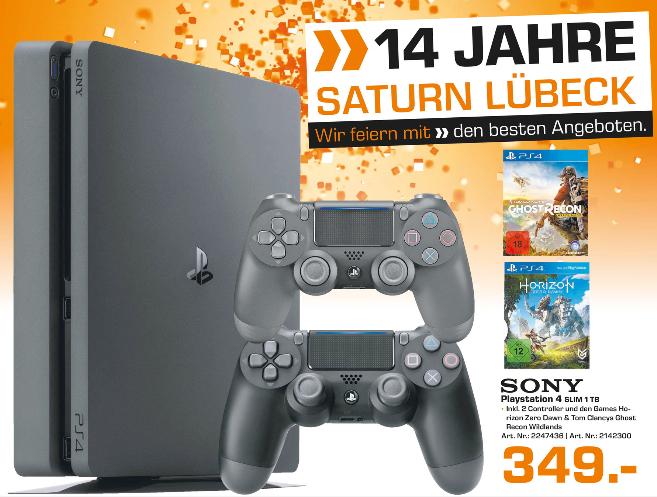 [Saturn Lübeck] PS4 Slim 1TB + 2. Controller + Horizon Zero Dawn + Tom Clancys Ghost Recon Wildlands + 30€ Saturn Gutschein