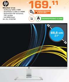 "[Lokal Saturn Stuttgart] HP 27es Display (27"") 16:9 FHD VGA/HDMI 7ms LED-IPS"