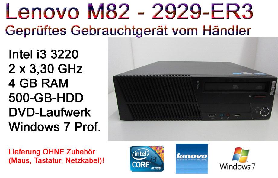Lenovo ThinkCentre M82 Small | i3-3220 3,3 GHz | 4GB | 500-GB-HD | DVD | Win7 Prof.