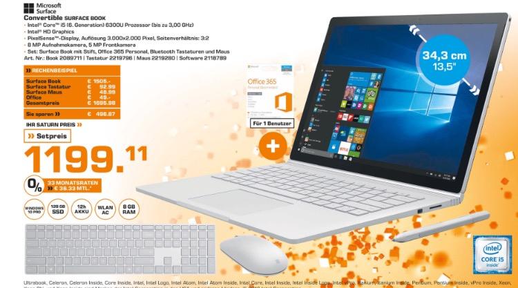 [Saturn Stuttgart] Microsoft Surface Book (i5, 8GB RAM, 128GB SSD)