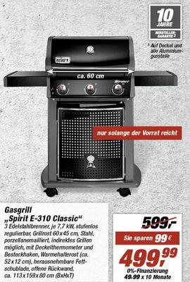 Weber Spirit E-310 Classic für 439 Euro statt 531 Euro mit Bauhaus Tiefpreisgarantie