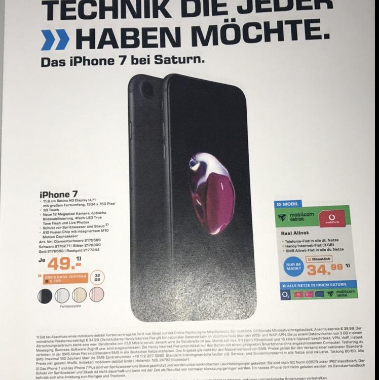 Nur Saturn Leipzig Grünau I Phone 7 32 GB 49 € Mtl 34,99€