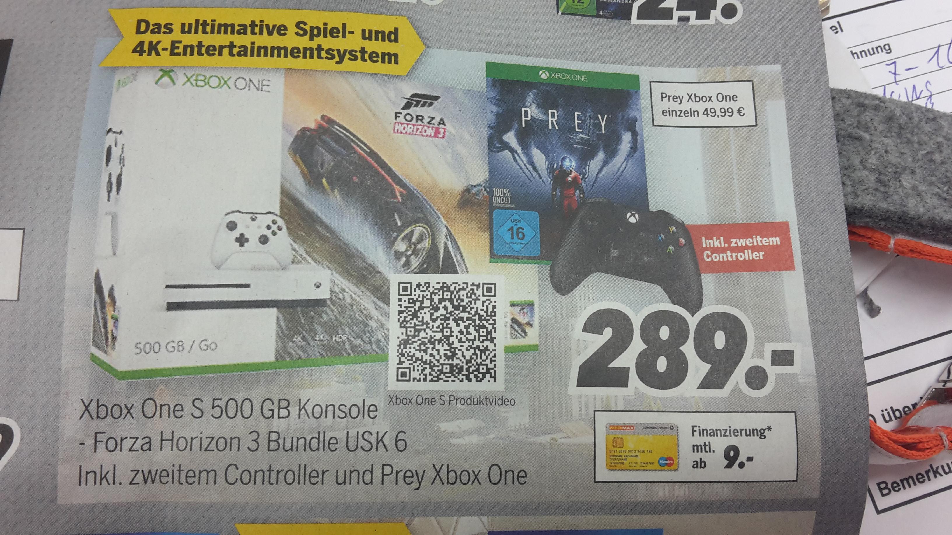 [Medimax] Xbox One S 500GB Forza Horizon 3 Bundle + 2. Controller + Prey für 289,- oder Prey einzeln für 49,99 €