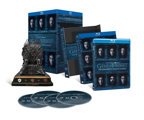 Game of Thrones Staffel 6 Blu Ray + Eiserner Thron Replika (Buchstütze) für 33,59€ bei Thalia mit Versand!