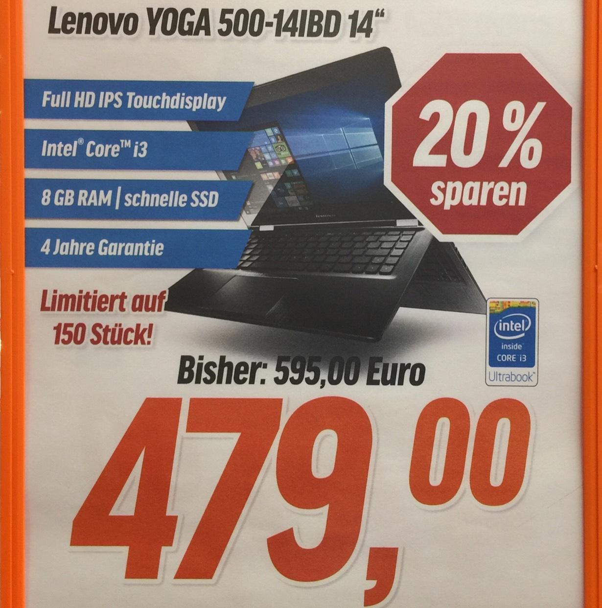 "[NBB lokal Hamburg] Lenovo Yoga 500-14IBD für 479€ (14"" Full-HD IPS Widescreen Touch, i3-5005U, 8 GB RAM, 128 GB SSD, Win 10, 4 Jahre Garantie)"