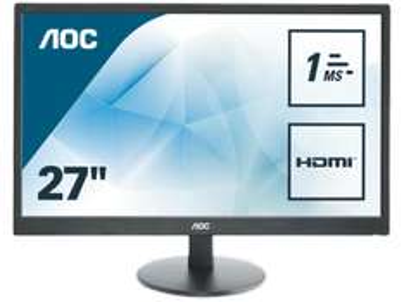 AOC E2770SH Monitor (27'' FHD TN matt, 300cd/m², 1ms, HDMI + DVI + VGA, integr. Lautsprecher, EEK B) für 139,99€ versandkostenfrei [Saturn]