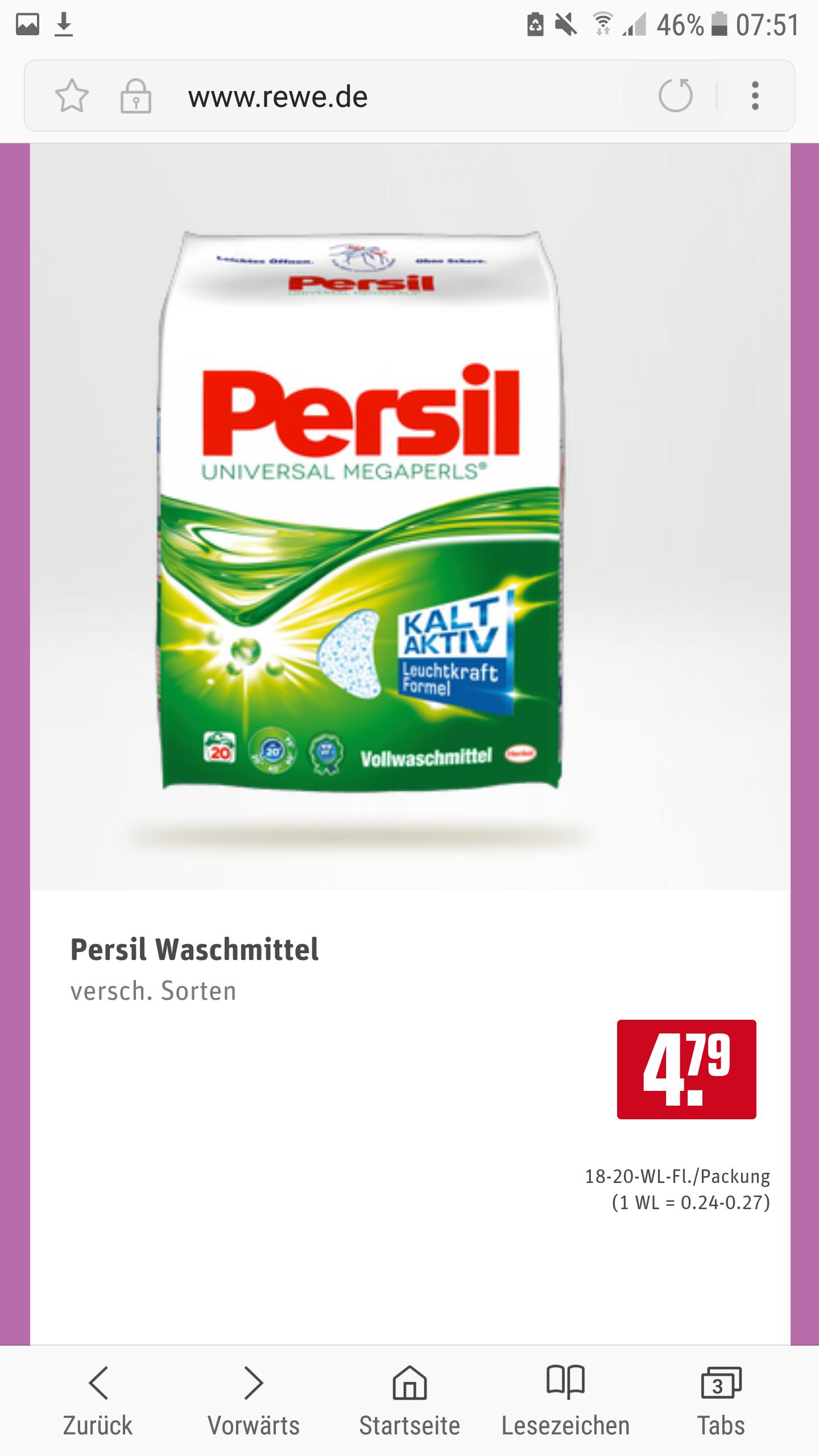 Persil Waschmittel Versch. Sorten, 4,79 Euro zzgl. 10fach Payback