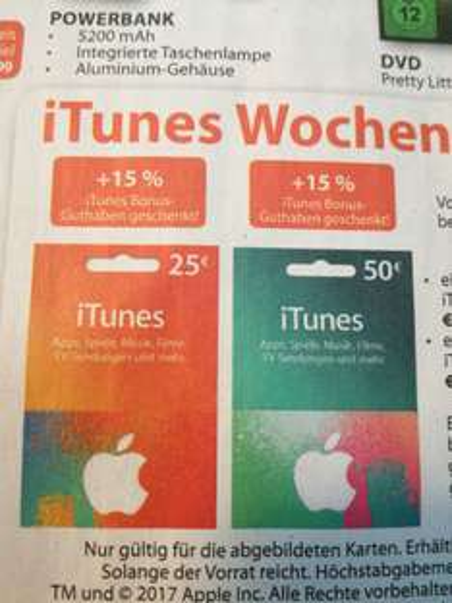 Itunes Karten 15% Bonus Müller
