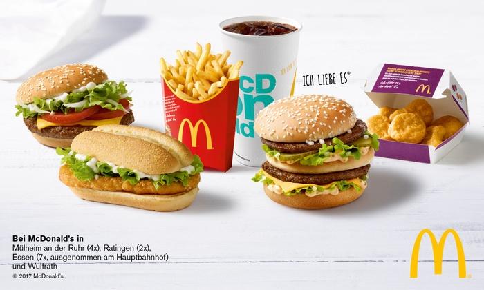 [lokal Essen/Mülheim/Ratingen/Wülfrath] McDonalds 5€ Gutschein für 2,80€ / 10€ Gutschein für 5,60€ / 15€ Gutschein für 8,00€ / 20€ Gutschein für 10,40€