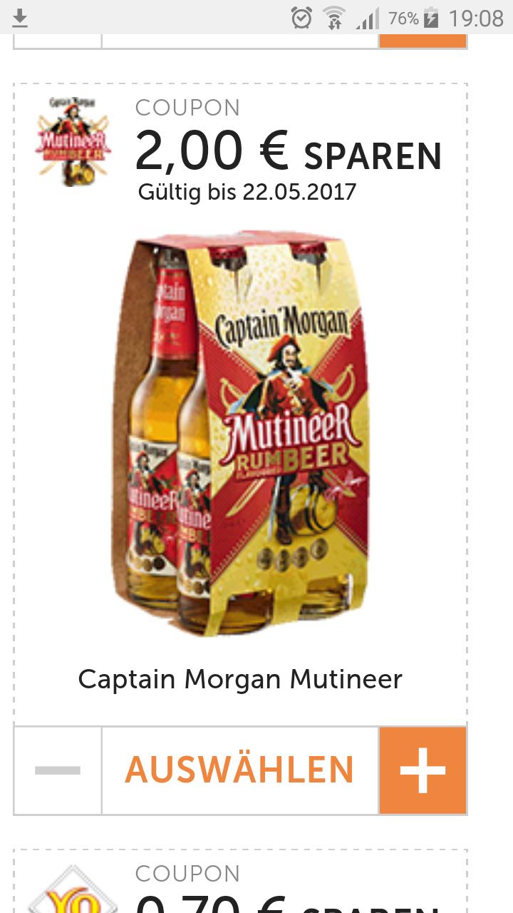 EdekaCenter (lokal?)  Mit Coupon und APP :Captain Morgan Mutineer  für -,99€ + Pfand [ggf.auch freebie möglich ]