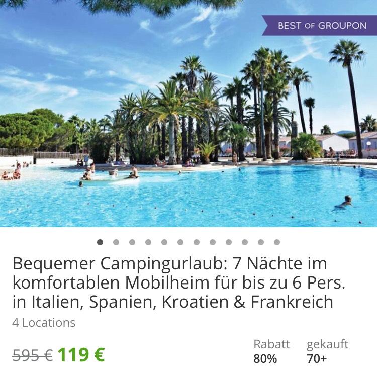 [Groupon] 7 Tage im Mobilheim in Italien, Spanien, Kroatien und Frankreich