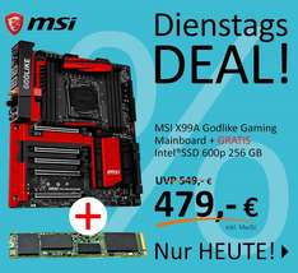 MSI X99A Godlike Gaming Mainboard + Intel SSD 600p 256 GB M.2 (-50€ Cashback von MSI) [Computeruniverse]