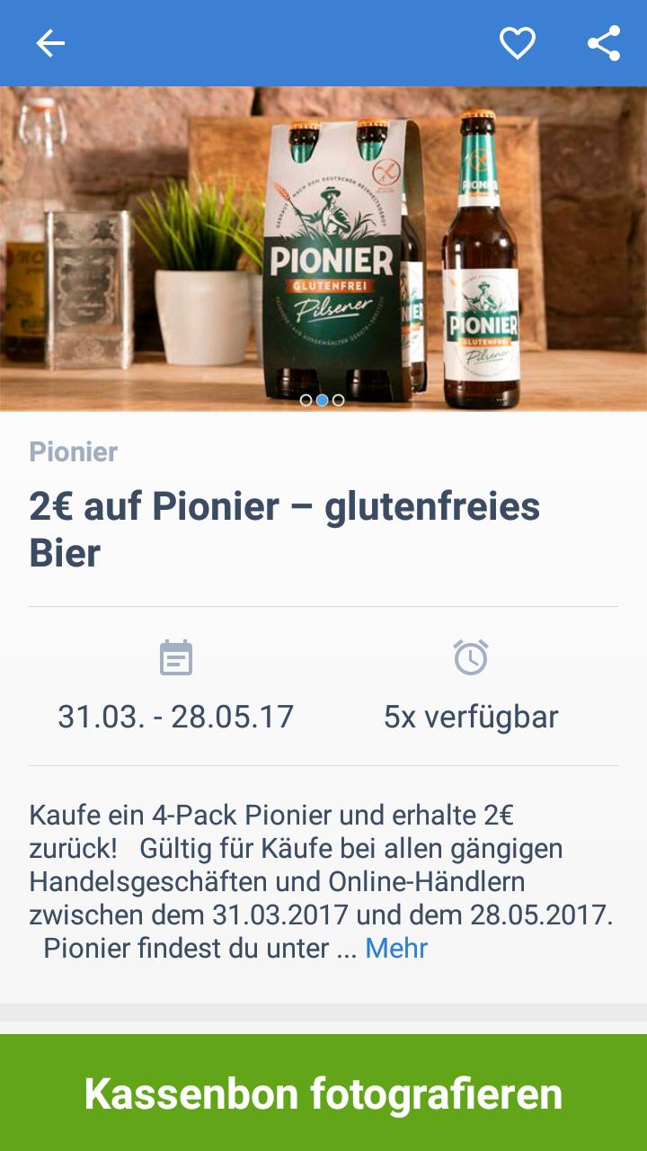 EdekaApp/coupies/scondoo:Pionier glutenfreies Pilsener( abgesehen vom Pfand ) als freebie möglich??
