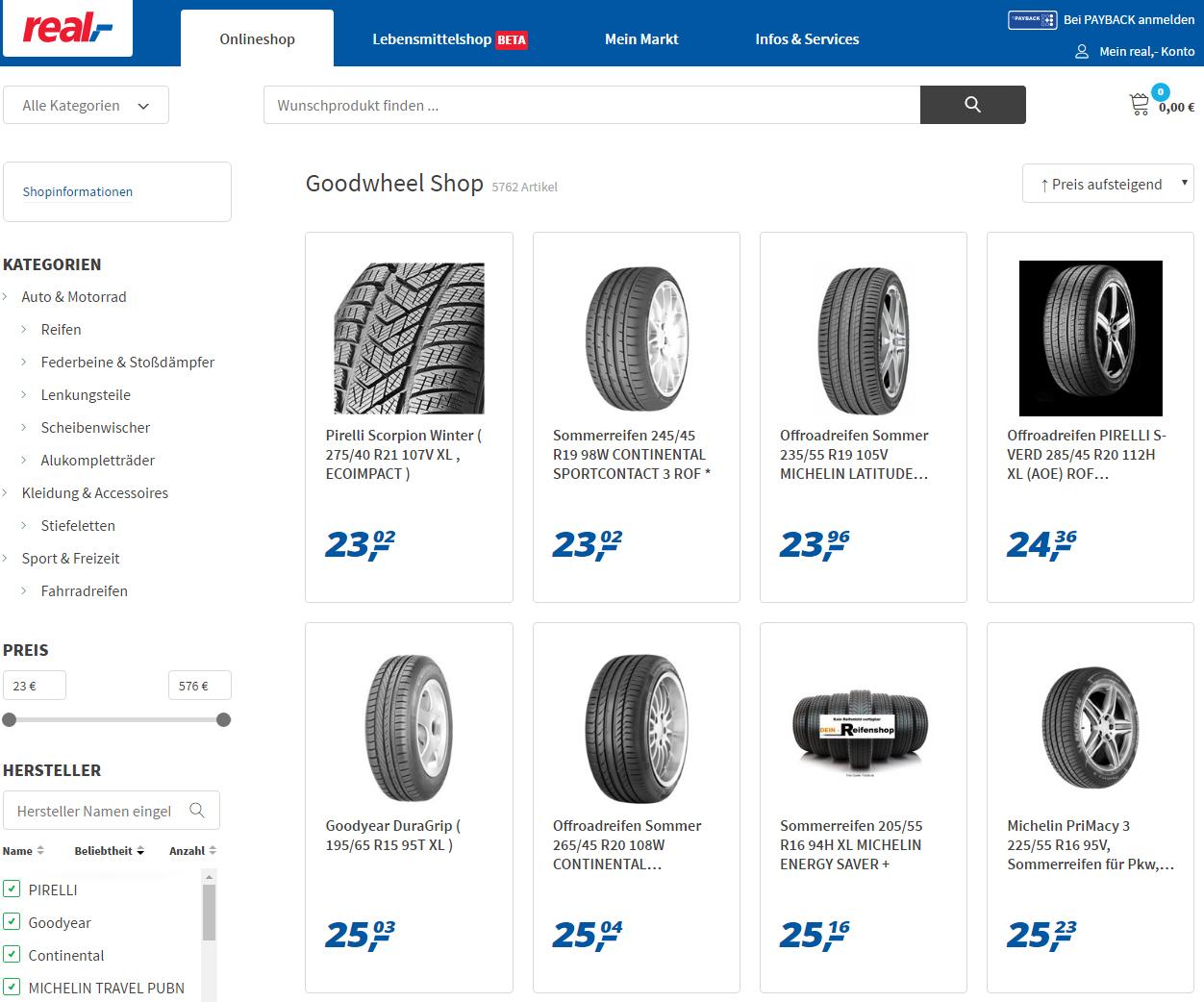 Preisfehler? - Diverse Markenreifen im Real-Onlineshop zu Mega-Preisen